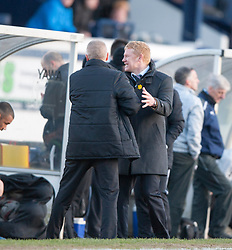 Falkirk's manager Gary Holt at the end.<br /> Raith Rovers 2 v 4 Falkirk, Scottish Championship game today at Starks Park.<br /> © Michael Schofield.