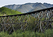 Built in 1911 as part of the Copper River and Northwestern Railway, Gilahina Trestle rises 90 feet high along the McCarthy Road in Wrangell-St. Elias National Park and Preserve, Alaska, USA. Wrangell-St. Elias National Park and Preserve (the largest National Park in the USA) is honored by UNESCO as part of an International Biosphere Reserve and UNESCO World Heritage Site.