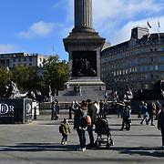 UK weather: Autumn and Sunshine in Trafalgar Square, London, UK