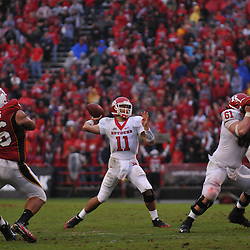 Sep 26, 2009; College Park, MD, USA; Rutgers quarterback Domenic Natale (11) throws a pass during the second half of Rutgers' 34-13 victory over Maryland in NCAA college football at Byrd Stadium.