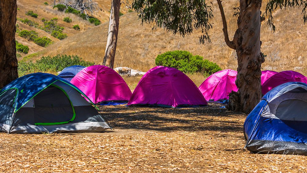 Camping at Scorpion Ranch, Santa Cruz Island, Channel Islands National Park, California USA