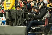 TV cameras working during 2014-15 La Liga match between Real Madrid and Deportivo de la Coruna at Santiago Bernabeu stadium in Madrid, Spain. February 14, 2015. (ALTERPHOTOS/Luis Fernandez)
