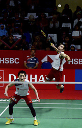 JAKARTA, Jan. 23, 2019  Keigo Sonoda (R) and Takeshi Kamura of Japan compete during the men's doubles 1st round match against Goh V Shem and Tan Wee Kiong of Malaysia at the Indonesia Masters 2019 in Jakarta, Indonesia, Jan 23, 2019. Keigo Sonoda and Takeshi Kamura won 2-0. (Credit Image: © Agung Kuncahya B/Xinhua via ZUMA Wire)