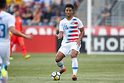 May 28, 2018 - Chester, PA, U.S. - CHESTER, PA - MAY 28: United States defender Erik Palmer-Brown (14) dribbles the ball during the international friendly match between the United States and Bolivia at the Talen Energy Stadium on May 28, 2018 in Chester, Pennsylvania. (Photo by Robin Alam/Icon Sportswire) (Credit Image: © Robin Alam/Icon SMI via ZUMA Press)