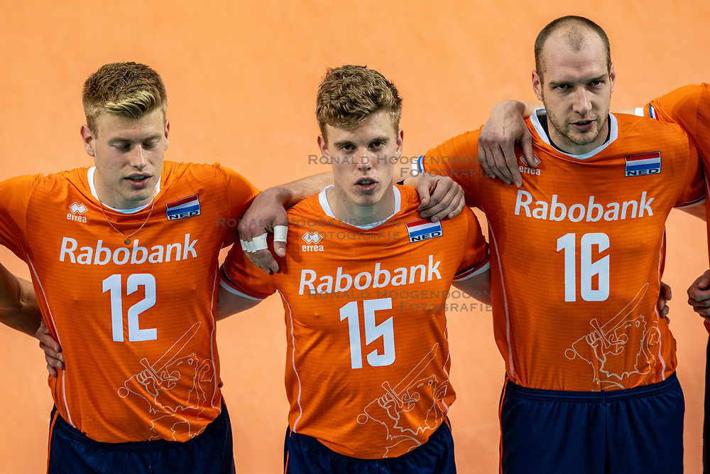 Bennie Tuinstra of Netherlands, Gijs van Solkema of Netherlands, Wouter Ter Maat of Netherlands in action during the CEV Eurovolley 2021 Qualifiers between Croatia and Netherlands at Topsporthall Omnisport on May 16, 2021 in Apeldoorn, Netherlands