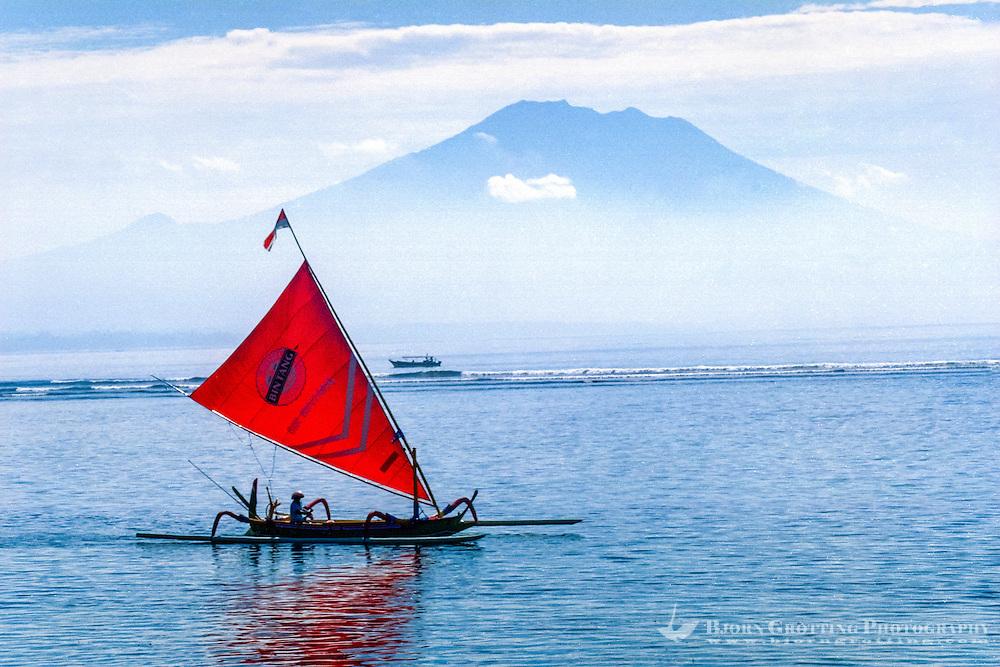 Bali, Denpasar, Sanur. Sanur beach with Gunung Agung in the background