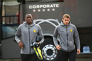 Burton Albion striker Lucas Akins (10) and Burton Albion defender Stephen Warnock (3) arrive during the EFL Sky Bet Championship match between Nottingham Forest and Burton Albion at the City Ground, Nottingham, England on 21 October 2017. Photo by John Potts.