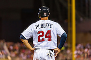 Minnesota Twins Trevor Plouffe #24 stands at 3rd base during a game against the Baltimore Orioles at Target Field in Minneapolis, Minnesota on July 16, 2012.  The Twins defeated the Orioles 19 to 7 setting a Target Field record for runs scored by the Twins.  © 2012 Ben Krause