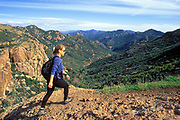 Hiker, Echo Cliffs, Mishe Mokwa Trail <br /> Santa Monica Mountains <br /> National Recreation Area, California (MR) (MR)