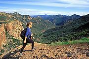 Hiker, Echo Cliffs, Mishe Mokwa Trail <br /> Santa Monica Mountains <br /> National Recreation Area, California (MR) (MR)