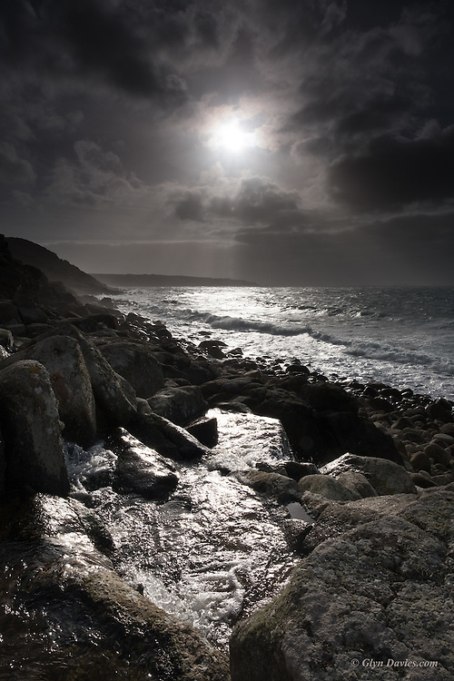 The forecast was for mixed weather but thankfully we never 'quite' saw rain. Here on the coast of West Penwith a river tumbles down through the boulders to join the Atlantic Ocean. Brief moments of sunshine illuminated the flowing water and everything sparkled. The clouds closed in, the wind increased and the cold intensified but my mood was as bright and alive as the view I was offered.