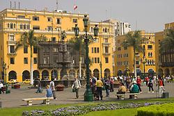 Historic buildings and park in Plaza de Armas, Lima, Peru, South America