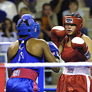 2. WOMEN'S WORLD BOXING CHAMPIONSHIPS.<br /> Denmark's Tina Hansen (R) semi final  lose. Tina Hansen (R)  between USA's Brown Natalie (L) . Dilek Sabanci Sport Hall Antalya/Turkey<br /> Photo by Aykut AKICI/TurkSporFoto