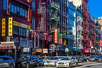 NEW YORK CITY- MARCH 26, 2018 : Chinatown streets one of the main Manhattan Landmarks