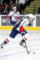 KELOWNA, CANADA, OCTOBER 5: Riley Guenther #2 of the Tri City Americans skates with the puck against the Kelowna Rockets on October 5, 2011 at Prospera Place in Kelowna, British Columbia, Canada (Photo by Marissa Baecker/shootthebreeze.ca) *** Local Caption ***Riley Guenther;