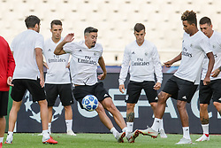 October 2, 2018 - Na - Athens, 10/01/2018 - Sport Lisboa e Benfica held the training to adapt to the pitch of the Olympic Stadium in Athens for the game of the second day of the Champions League 2018/2019 against the AEK of Athens. André Almeida and Gedson Fernandes  (Credit Image: © Atlantico Press via ZUMA Wire)
