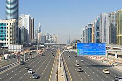 Skyline and Sheikh Zayed Road in Dubai United Arab Emirates