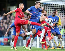 21 October 2017 - Premier League Football - Chelsea v Watford - Cesar Azpilvcueta of Chelsea reaches the ball before Richarlison of Watford - Photo: Charlotte Wilson / Offside