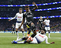 BRITAIN-LONDON-FOOTBALL-UEFA CHAMPIONS LEAGUE-TOTTENHAM HOTSPUR VS AJAX.(190430) -- LONDON, April 30, 2019  Ajax's David Neres is tackled by Tottenham Hotspur's Danny Rose during the UEFA Champions League Semifinal First Leg match between Tottenham Hotspur and Ajax at The Tottenham Hotspur Stadium in London, Britain on April 30, 2019. Ajax won 1-0.  FOR EDITORIAL USE ONLY. NOT FOR SALE FOR MARKETING OR ADVERTISING CAMPAIGNS. NO USE WITH UNAUTHORIZED AUDIO, VIDEO, DATA, FIXTURE LISTS, CLUB/LEAGUE LOGOS OR ''LIVE'' SERVICES. ONLINE IN-MATCH USE LIMITED TO 45 IMAGES, NO VIDEO EMULATION. NO USE IN BETTING, GAMES OR SINGLE CLUB/LEAGUE/PLAYER PUBLICATIONS. (Credit Image: © Matthew Impey/Xinhua via ZUMA Wire)
