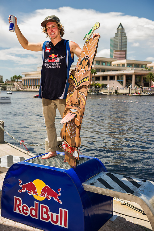 Raph Derome Poses for a winners portrait at Red Bull Wake Open Park in Tampa Bay, Florida on July 14, 2012