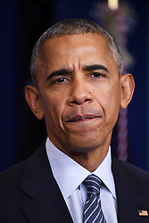 WASHINGTON, Nov. 15, 2016 (Xinhua) -- U.S. President Barack Obama reacts at his first press conference since last week's presidential election at the White House in Washington D.C., the United States, Nov. 14, 2016. Obama said on Monday that his successor Donald Trump, a frequent North Atlantic Treaty Organization (NATO) critic on the presidential campaign trail, was committed to NATO. .(Xinhua/Yin Bogu) (yy) (Credit Image: © Yin Bogu/Xinhua via ZUMA Wire)