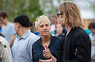 """Brad Pitt gives Ellen DeGeneres a walking tour through the """" Make it Right """" houses in New Orleans Lower 9th Ward the day before a star-studded gala being held in New Orleans."""