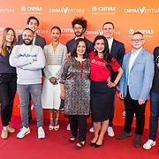 NLD/Amsterdam/20190509 -  Zoe Saldana bij finale van de Chivas Venture, Cemal Ezel, Zoe Saldana en Alexandre Ricard,  Sonal Shah en de finalisten 2019