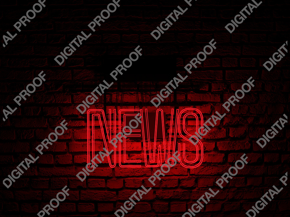 Fake News Neon Sign red color news on fake off over a red brick wall at dark - Illustration Computer Rendered - Illustration