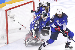 February 22, 2018 - Pyeongchang, South Korea - A shot by Canada's MARIE-PHILIP POULIN gets by USA goalie MADDIE ROONEY to put Canada up 2-1 in the second period of the Women's Gold Medal Ice Hockey game Thursday, February 22, 2018 at Gangneung Hockey Centre at the Pyeongchang Winter Olympic Games. Photo by Mark Reis, ZUMA Press/The Gazette (Credit Image: © Mark Reis via ZUMA Wire)