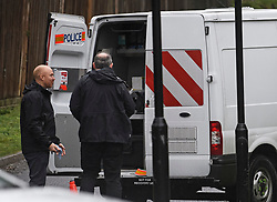 © Licensed to London News Pictures. 04/02/2019. London, UK. Members of a police investigation team at the scene at Highgate Mental Health Centre on Dartmouth Park Hill in North London were a 46 year old man was found dead following a fire. Two men were arrested at the scene on suspicion of murder. Metropolitan Police have launched a murder investigation. Photo credit: Ben Cawthra/LNP