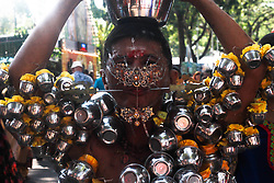 January 31, 2018 - Penang, Malaysia - hindu devotee  pierced his body  during the Thaipusam Celebration in penang on January 31, 2018. The word Thaipusam is a combination of the name of the month, Thai, and the name of a star, Pusam. This particular star is at its highest point during the festival. The festival commemorates the occasion when Parvati gave Murugan a Vel ''spear'' so he could vanquish the evil demon Soorapadman. It is commonly believed that Thaipusam marks Murugan's birthday; Some other sources suggest that Vaikhasi Vishakam, which falls in the Vaikhasi month (May/June), is Murugan's birthday. (Credit Image: © Shaiful Azre/NurPhoto via ZUMA Press)