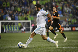 October 8, 2018 - Seattle, Washington, U.S - Seattle's WILL BRUIN (17) pushes the ball down field as the Houston Dynamo visits the Seattle Sounders in a MLS match at Century Link Field in Seattle, WA. (Credit Image: © Jeff Halstead/ZUMA Wire)