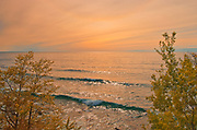 Sunset light on Lake Superior (Great Lakes) at Alana Bay<br />Just south of Lake Superior Provincial Park<br />Ontario<br />Canada