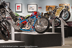 "Warren Lane's STP bike in the ""Built for Speed"" exhibition curated by Michael Lichter and Paul D'Orleans in the Russ Brown Events Center as part of the annual ""Motorcycles as Art"" series at the Sturgis Buffalo Chip during the Black Hills Motorcycle Rally. SD, USA. August 7, 2014.  Photography ©2014 Michael Lichter."