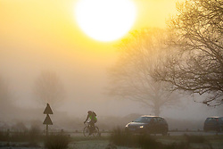 © Licensed to London News Pictures. 06/02/2020. London, UK. Cyclist and car drivers commutes in dense fog in Richmond Park this morning as weather experts predict high winds and heavy rain for the weekend. Photo credit: Alex Lentati/LNP