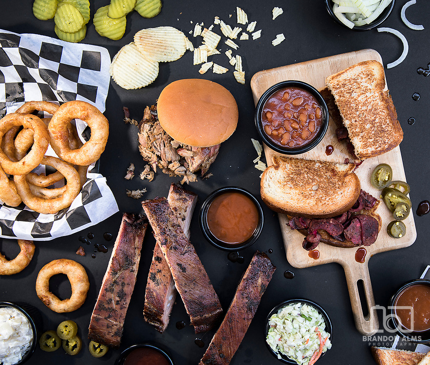 A messy styled barbecue food shot. Photo by Brandon Alms Photography