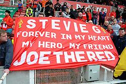 Liverpool's fans display a banner showing their appreciation - Photo mandatory by-line: Nizaam Jones/JMP - Mobile: 07966 386802 - 24/05/2015 - SPORT - Football - Stoke - Britannia Stadium - Stoke City v Liverpool - Barclays Premier League
