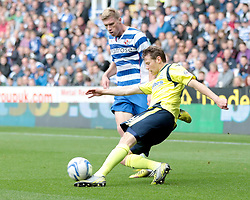Birmingham City's  Jonathan Spector is challenged by Reading's Pavel Pogrebnyak - Photo mandatory by-line: Nigel Pitts-Drake/JMP - Tel: Mobile: 07966 386802 28/09/2013 - SPORT - FOOTBALL - Madejski Stadium - Reading - Reading V Birmingham City - Sky Bet Championship