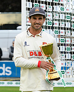 Ryan ten Doeschate of Essex with the County Championship trophy after Essex secured the title during the Specsavers County Champ Div 1 match between Somerset County Cricket Club and Essex County Cricket Club at the Cooper Associates County Ground, Taunton, United Kingdom on 26 September 2019.