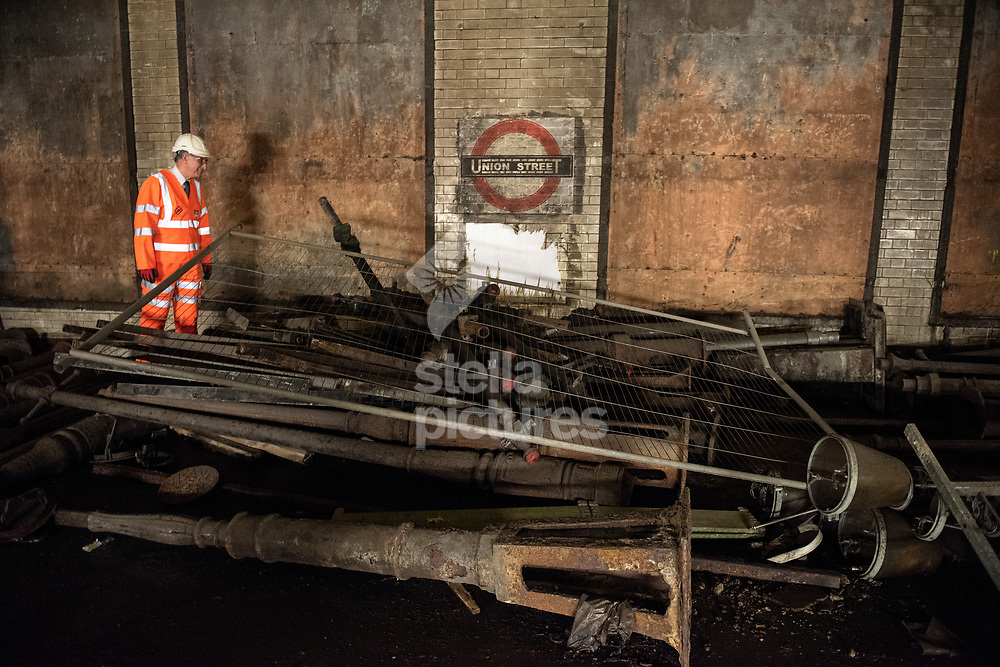 Richard Storer, Community relations manager for Crossrail pictured in the Kingsway Tram Tunnel<br /> Picture by Daniel Hambury/@stellapicsltd 07813022858<br /> 19/04/2018