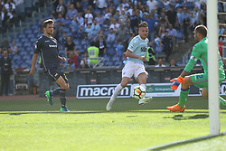 April 22, 2018 - Rome, Lazio, Italy - Ciro Immobile try to shoot in target.With two goal per time SS Lazio beat Sampdoria 4-0 (32'  Sergej Milinkovic, 43'  Stefan De Vrij, 85' Ciro Immobile, 88 Ciro Immobile) and make a step ahead for the fight for third place in Italian Serie A (Credit Image: © Paolo Pizzi/Pacific Press via ZUMA Wire)