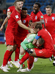 (l-r) Eric Dier of England, Jesse Lingard of England, Danny Rose of England, goalkeeper Jordan Pickford of England, Harry Kane of England, Jamie Vardy of England, during the 2018 FIFA World Cup Russia round of 16 match between Columbia and England at the Spartak stadium  on July 03, 2018 in Moscow, Russia