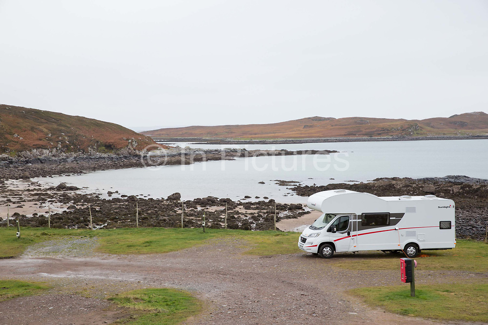 Port A Bhaigh Campsite on the 5th November 2018 in Altandhu, Scotland in the United Kingdom. Port a Bhaigh is a campsite in the township of Altandhu on the Coigach peninsula.