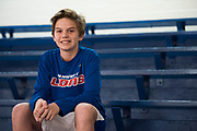 Caleb Heavner, 12, poses for a portrait before a 7th grade basketball game at Durant Middle School in Durant, Oklahoma on January 27, 2017.  (Cooper Neill for The New York Times)