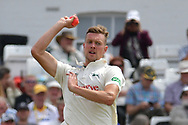 Jake Ball with the pink ball during the Specsavers County Champ Div 2 match between Nottinghamshire County Cricket Club and Kent County Cricket Club at Trent Bridge, West Bridgford, United Kingdom on 26 June 2017. Photo by Simon Trafford.