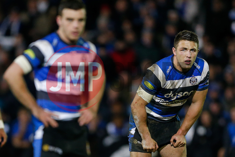 Bath Inside Centre Sam Burgess, making his first start for the Club, looks on waiting for a pass from Fly-Half George Ford - Photo mandatory by-line: Rogan Thomson/JMP - 07966 386802 - 12/12/2014 - SPORT - RUGBY UNION - Bath, England - The Recreation Ground - Bath Rugby v Montpellier Herault Rugby - European Rugby Champions Cup Pool 4.