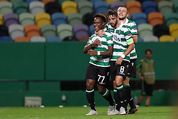 September 20, 2018 - Lisbon, Portugal - Sporting's forward Jovane Cabral from Cabo Verde (L ) celebrates with teammates after scoring during the UEFA Europa League Group E football match Sporting CP vs Qarabag at Alvalade stadium in Lisbon, on September 20, 2018. (Credit Image: © Pedro Fiuza/ZUMA Wire)