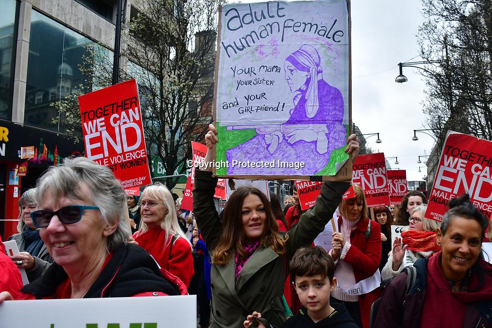 Hundreds of protectors joint Million Women Rise 2020 assembly at Duke Street, on 7 March 020, London, UK