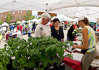 """Karen Barker of the """"Full Basket Coop"""" has offerings from four different local farms at the Laconia Main Street Outdoor Market Place during the seasons opening day on Thursday.  (Karen Bobotas/for the Laconia Daily Sun)"""