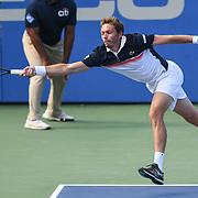 NICHOLAS MAHUT hits a forehand at the Rock Creek Tennis Center.